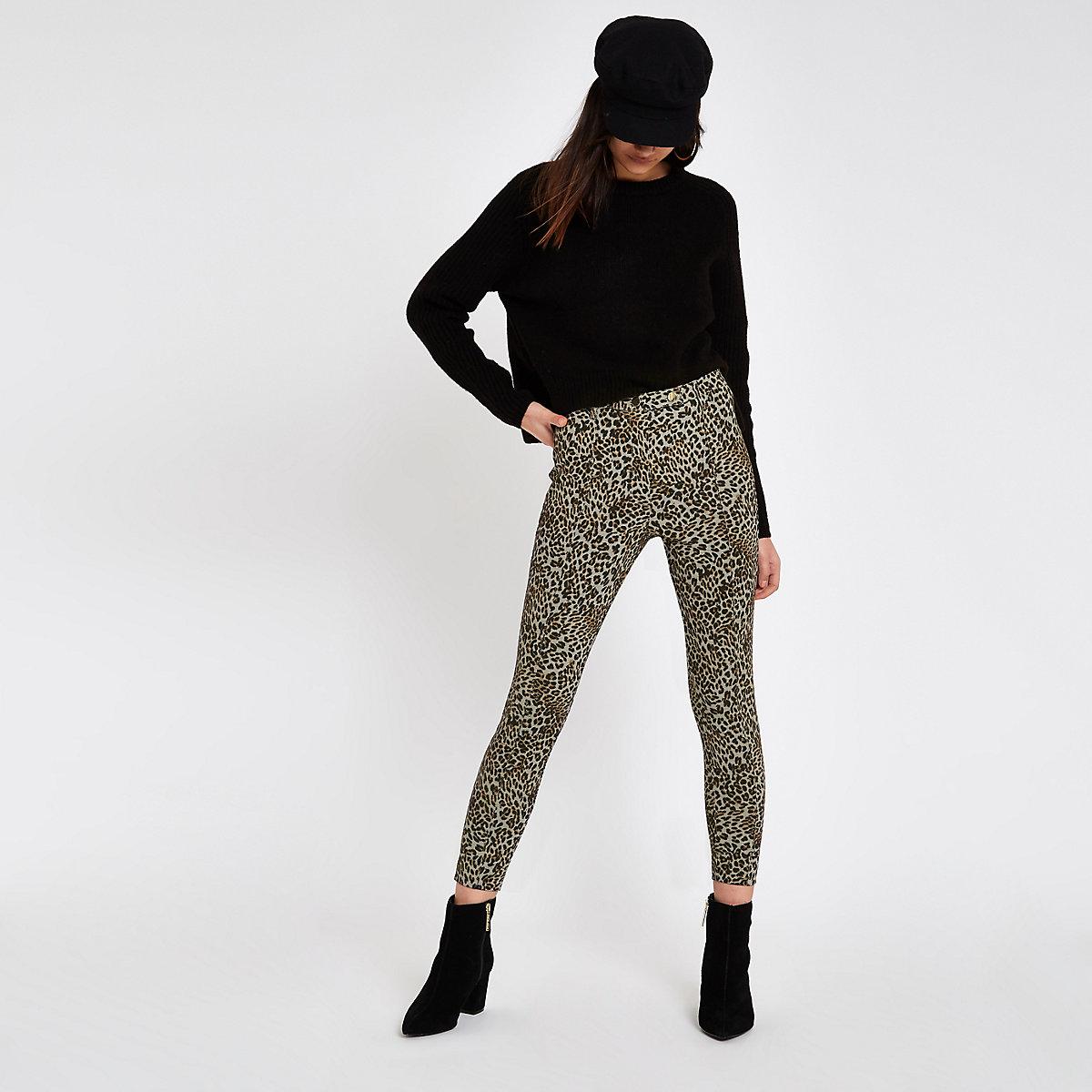 Brown ponte leopard print skinny pants