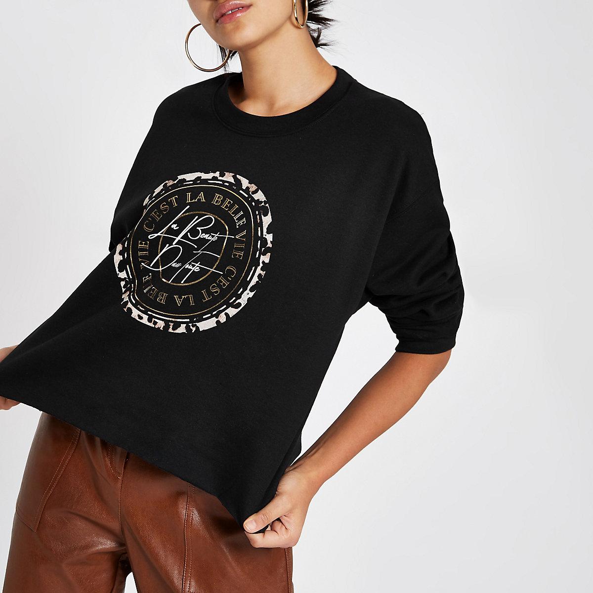 Black 'c'est la belle' print crop sweatshirt