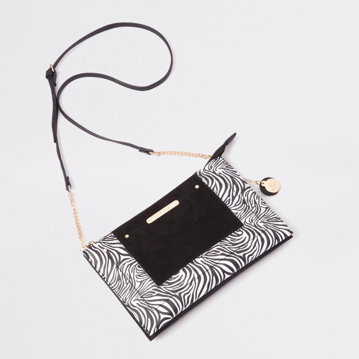 Black zebra print cross body pouch bag
