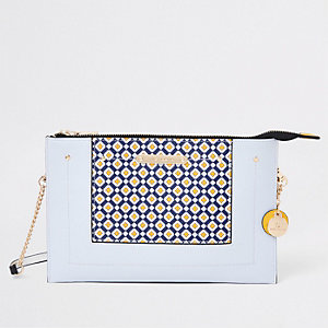 Light blue geo print pouch clutch bag