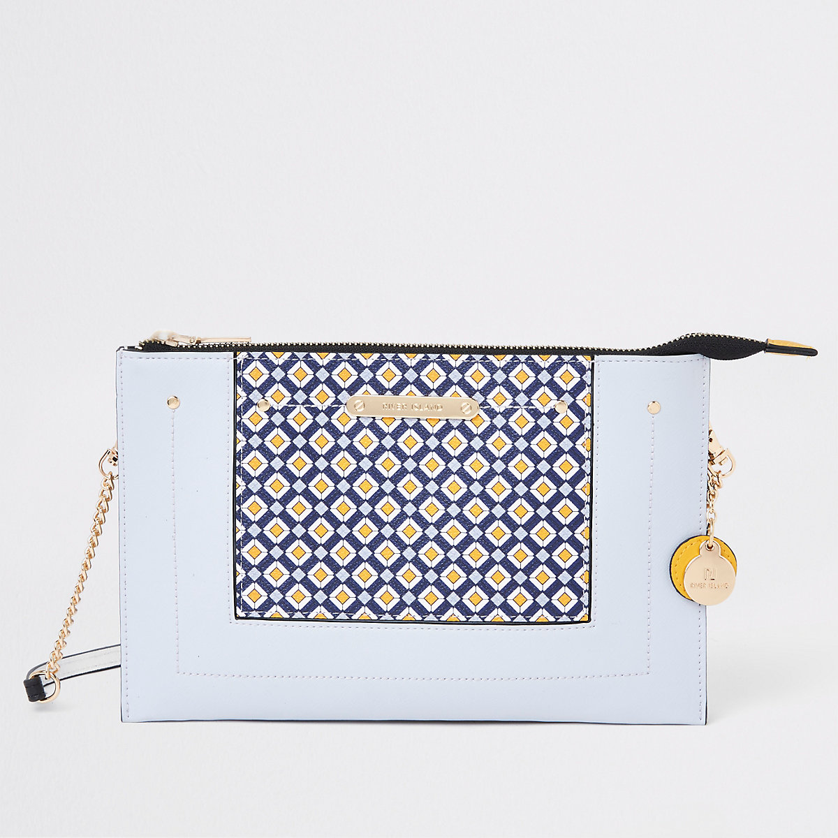 Light blue geo print pouch clutch bag