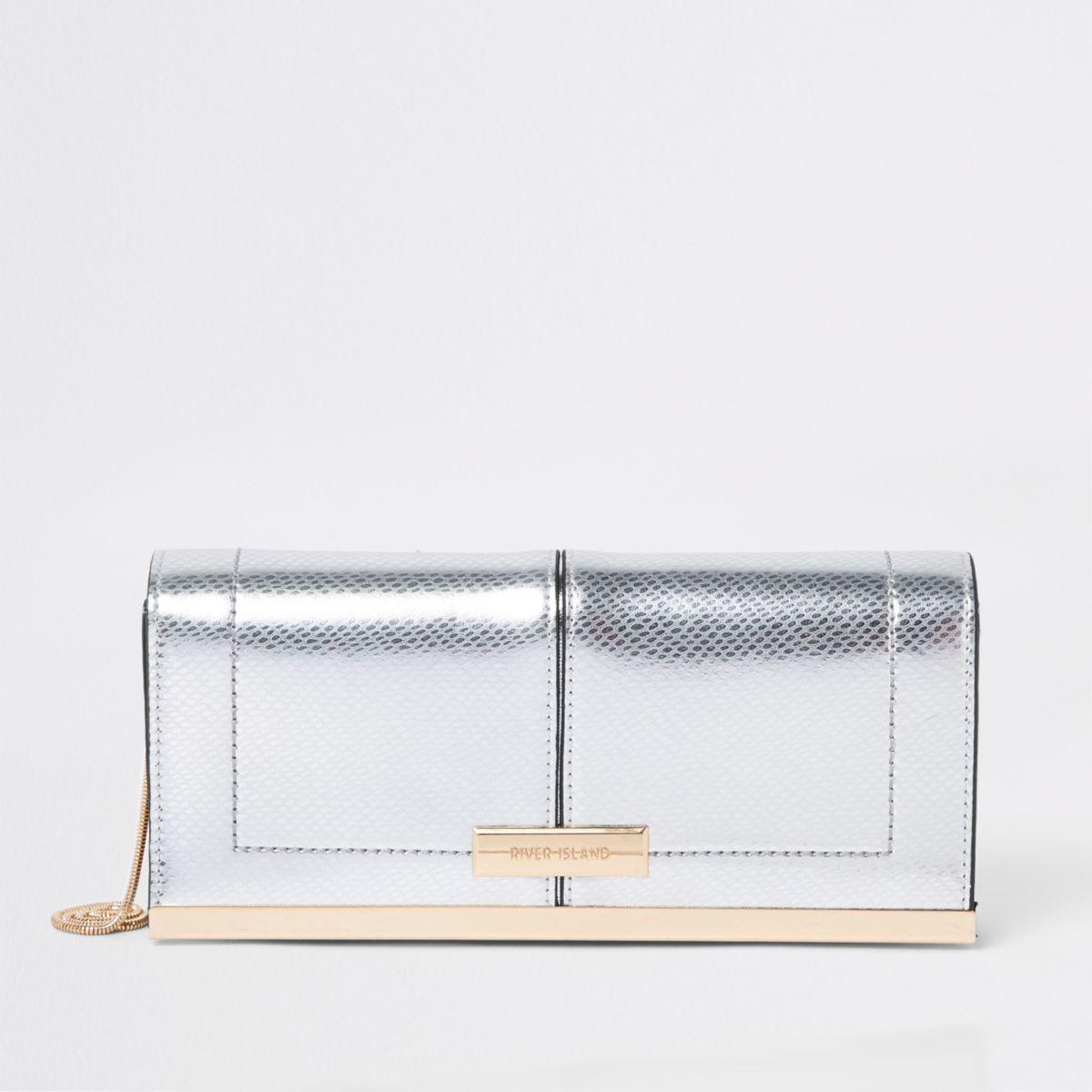 Silver baguette clutch bag