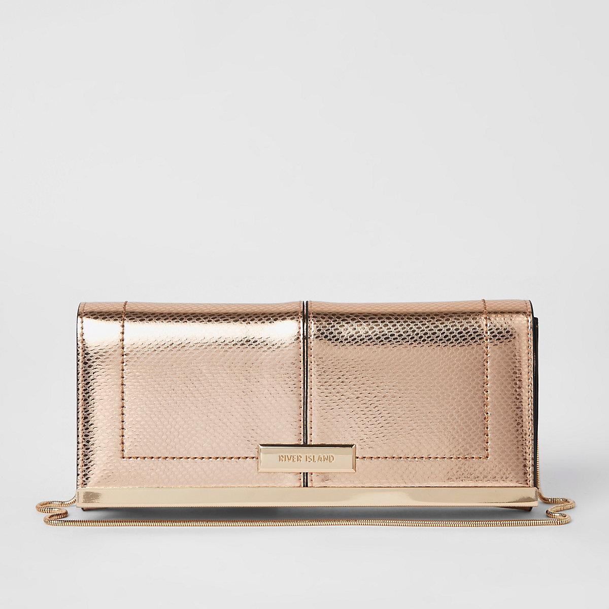 Rose gold baguette clutch bag