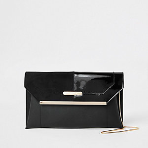 Black envelope clutch bag
