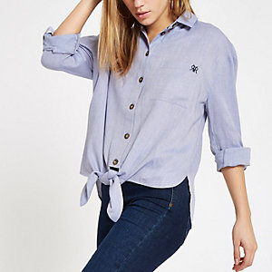 Blue tie front rolled sleeve shirt