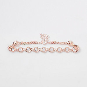Rose gold tone rhinestone circle choker
