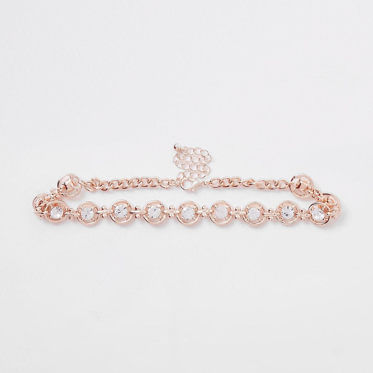 Rose gold tone diamante circle choker