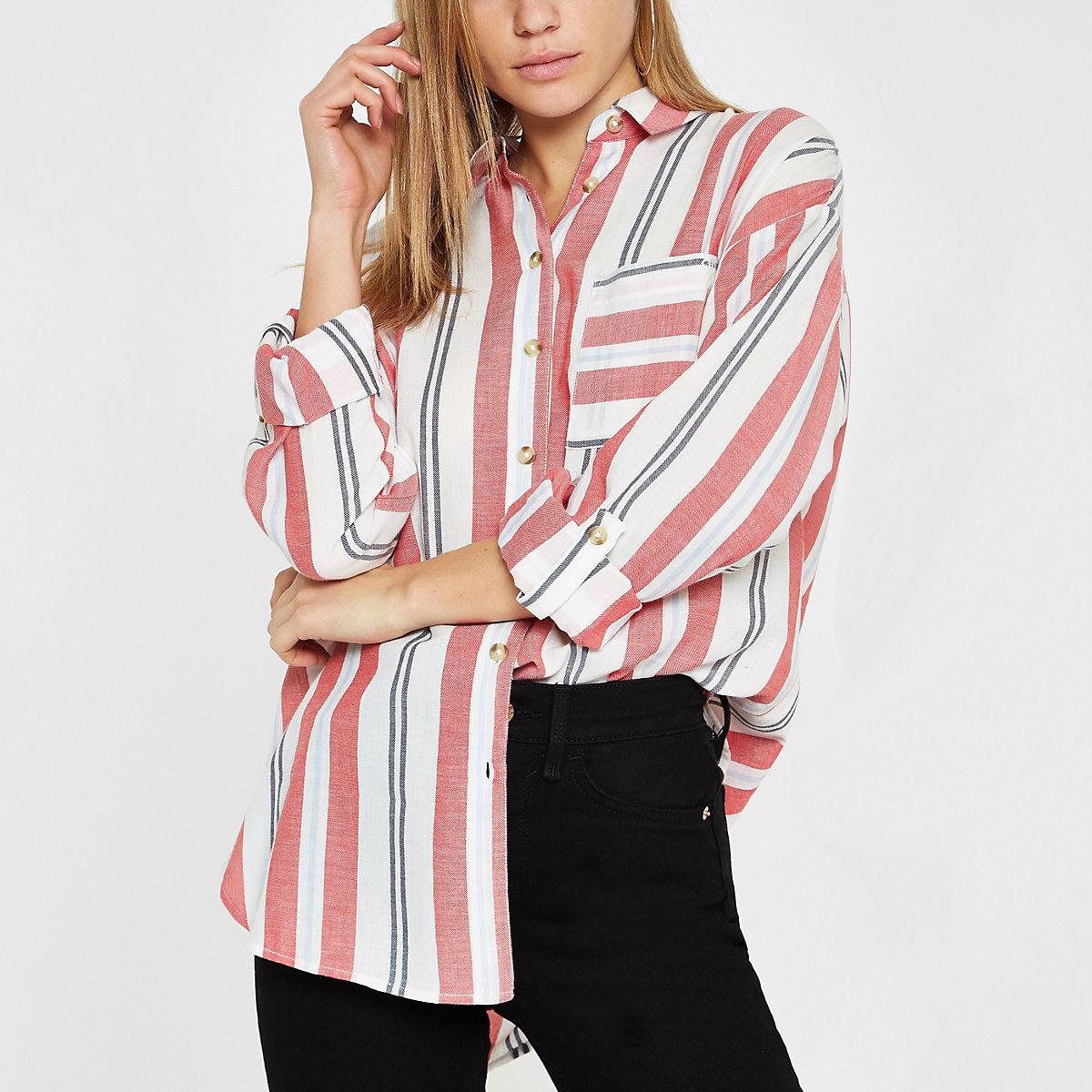 Red stripe long sleeve shirt