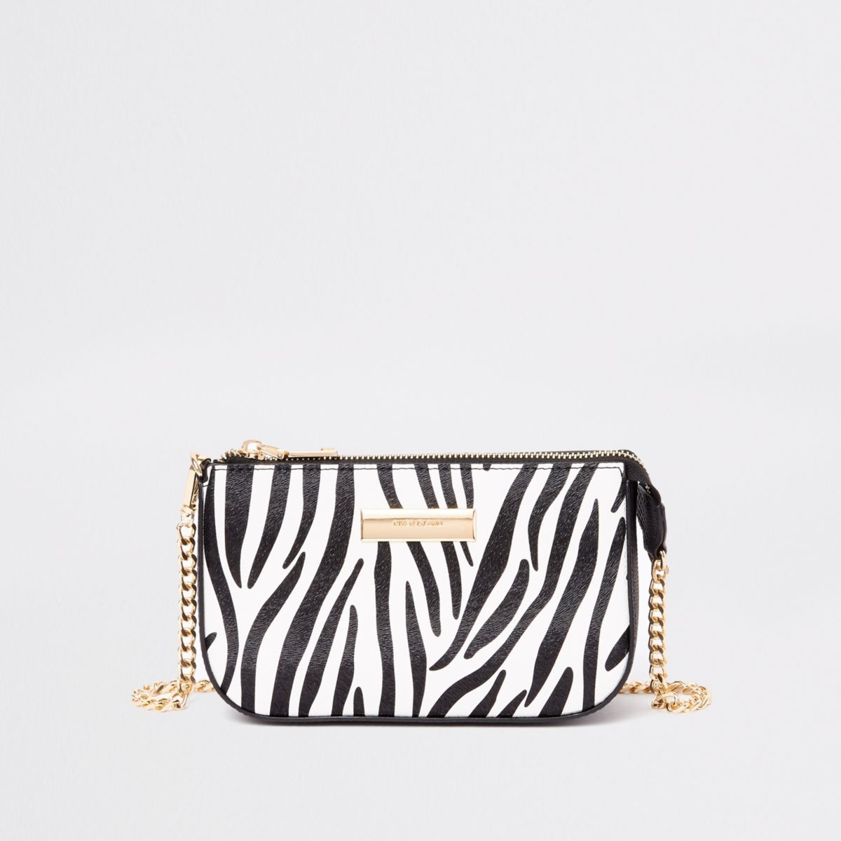 Black zebra print mini chain shoulder bag
