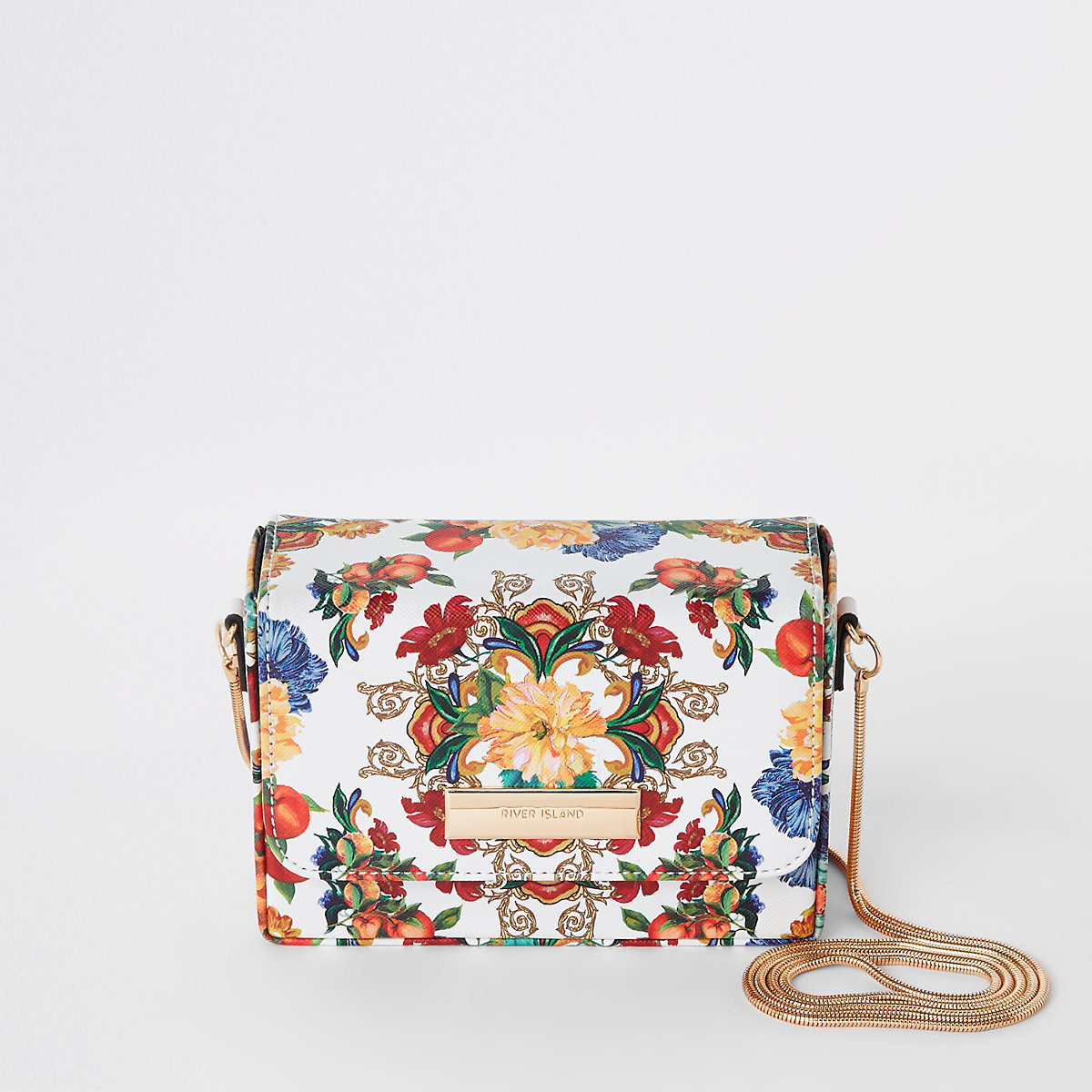 White floral chain mini cross body bag