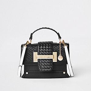 Zwarte geweven satchel met contrasterend detail