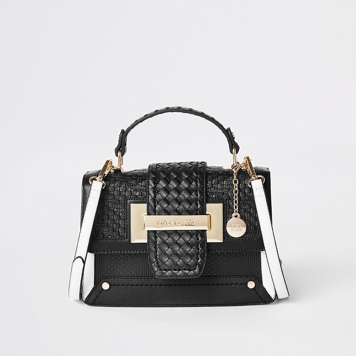 Black woven contrast satchel bag