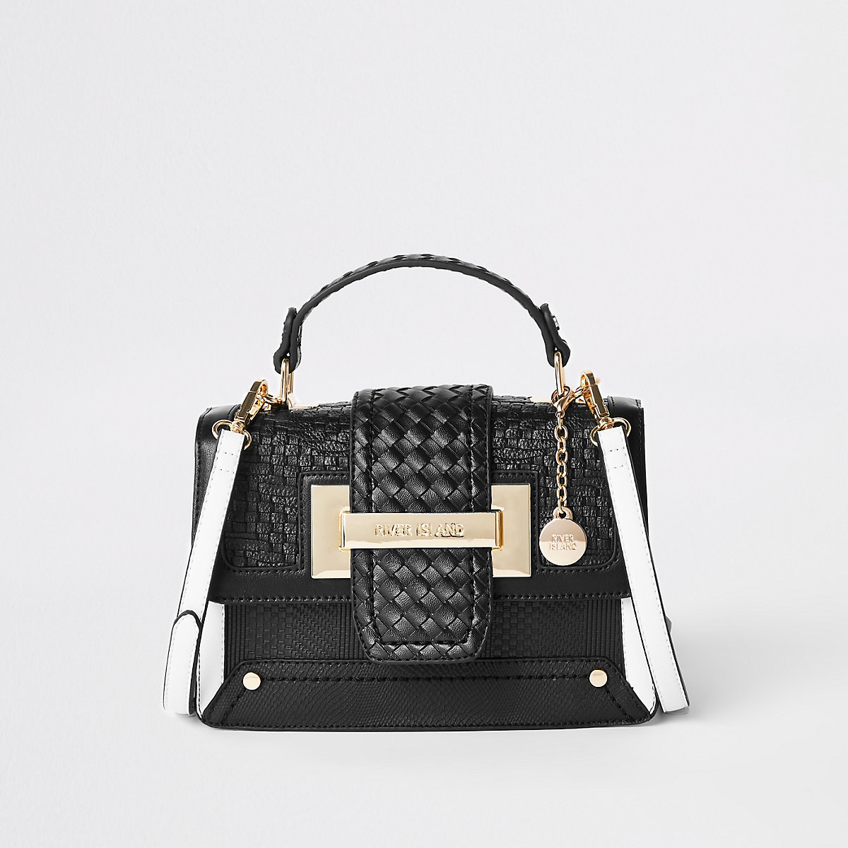 Black woven contrast satchel bag