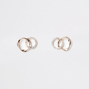 Rose gold tone rhinestone pave wavy earrings