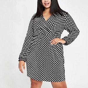Plus black spot plisse wrap swing dress
