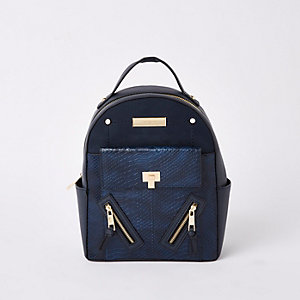 Mini sac à dos bleu marine avec poche sur le devant