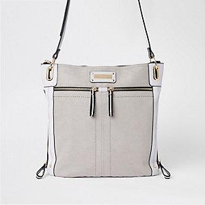 Grey double zip detail messenger bag