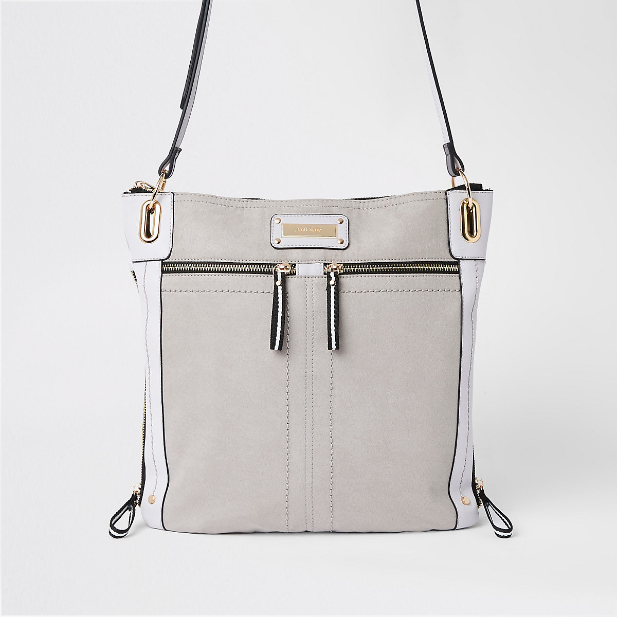 Grey double zip detail messenger bag