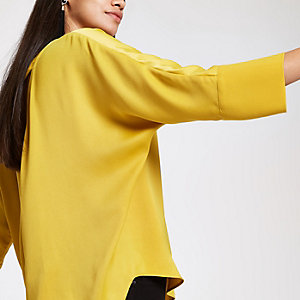 Yellow loose fit batwing sleeve top
