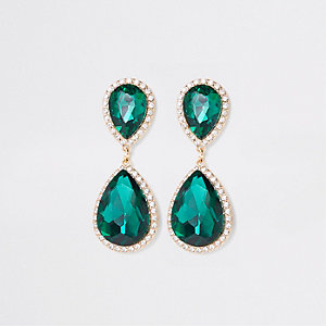 Gold tone emerald stone drop earrings