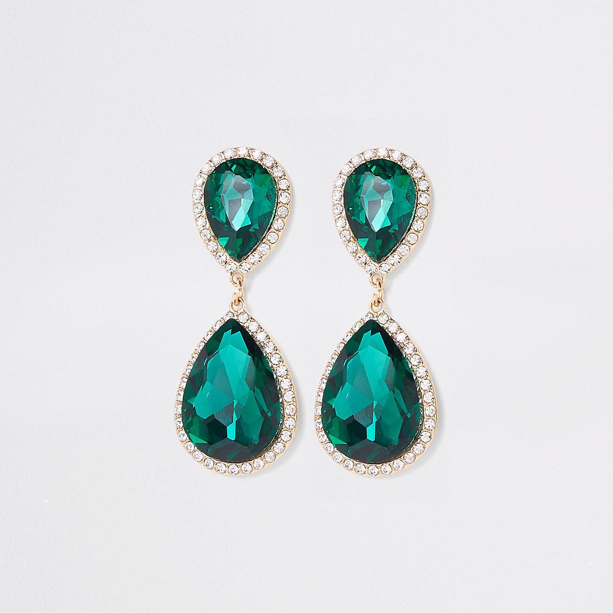 Gold tone emerald stone drop earrings