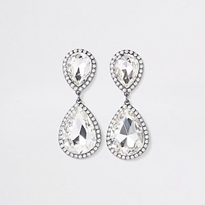 Silver tone diamante stone drop earrings