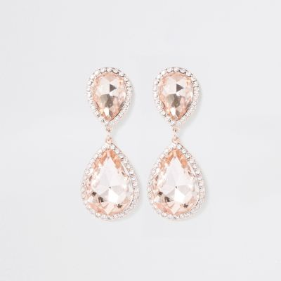 Rose Gold Diamante Stone Drop Earrings by River Island