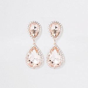 Rose gold diamante stone drop earrings