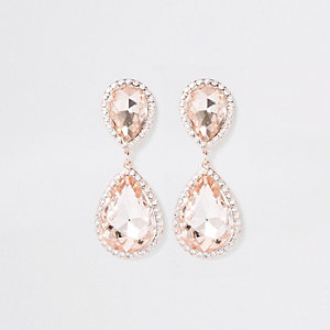 Rose gold rhinestone stone drop earrings