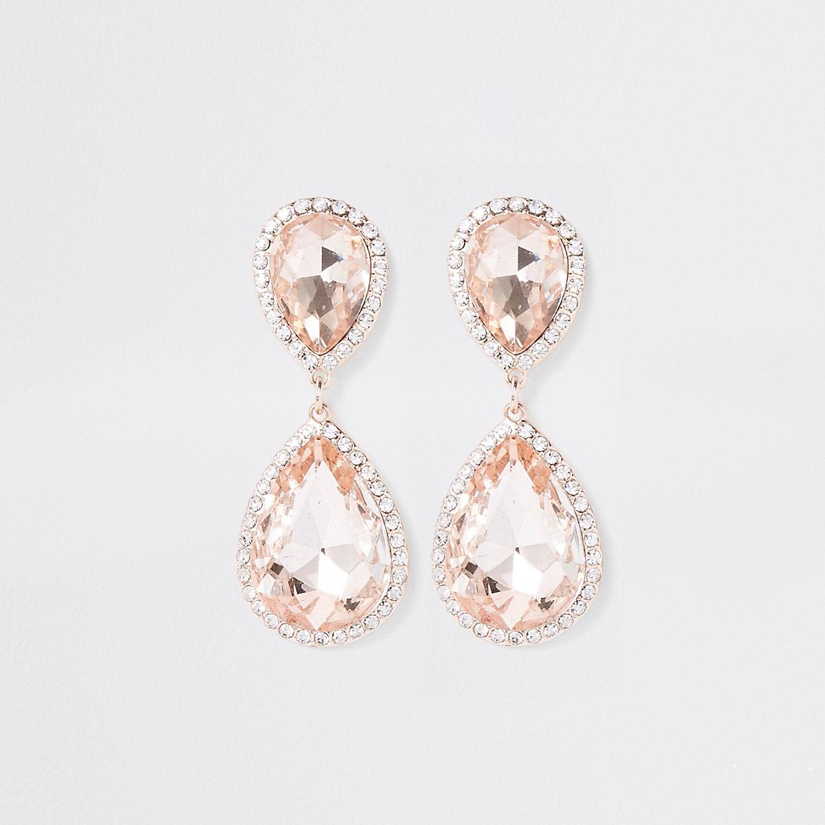 Rose gold rhinestone stone drop earrings