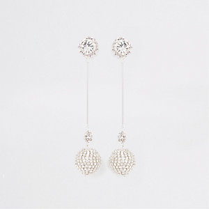 Silver tone diamante orb drop earrings