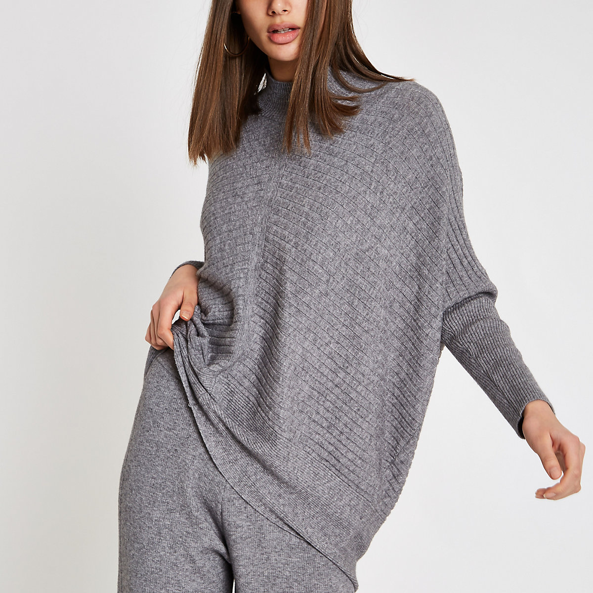 Grey rib knit high neck long sleeve sweater