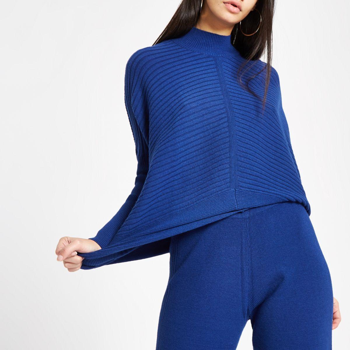Dark blue knit high neck long sleeve sweater