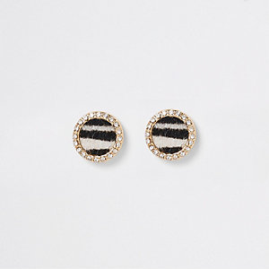 Black zebra print rhinestone stud earrings