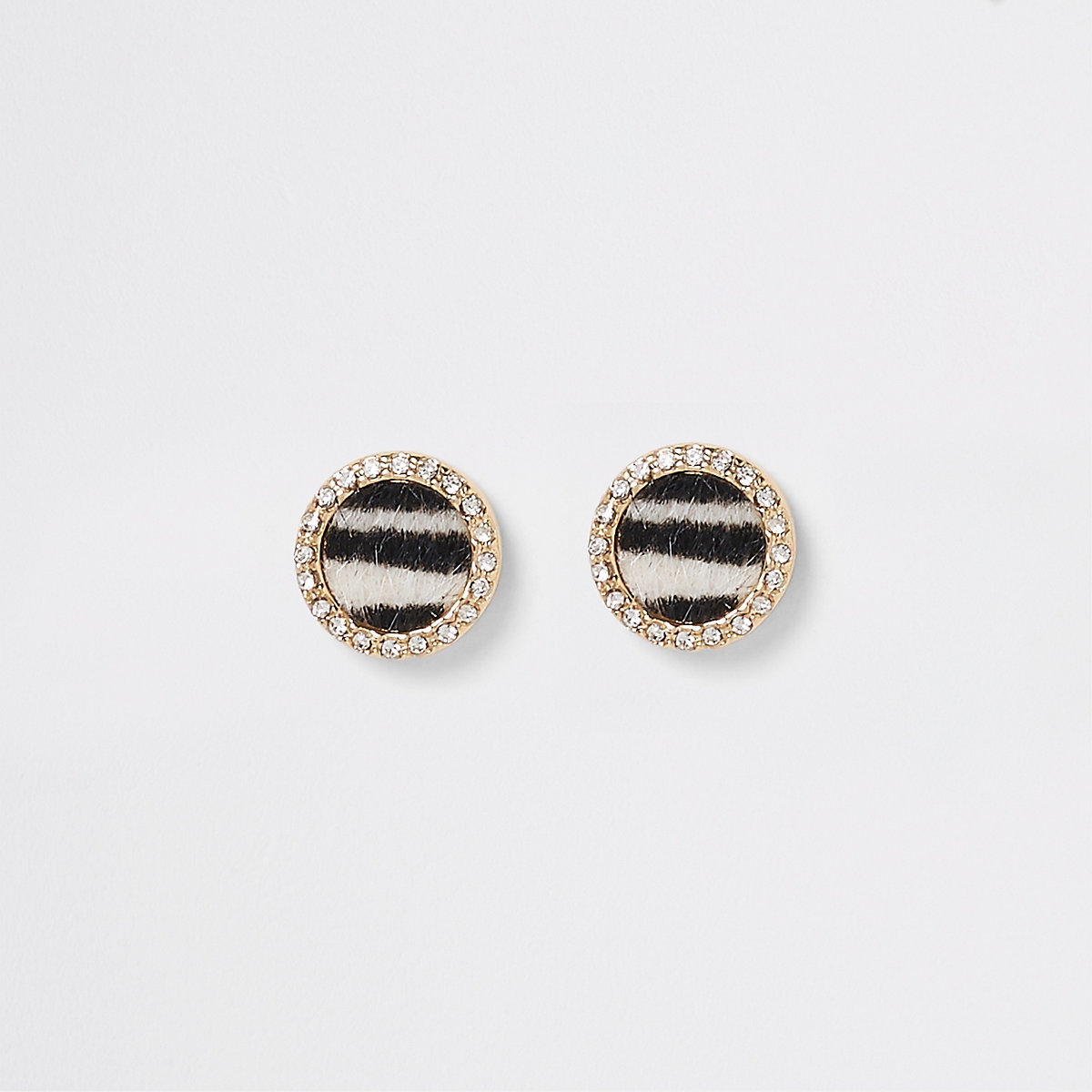 Black zebra print diamante stud earrings
