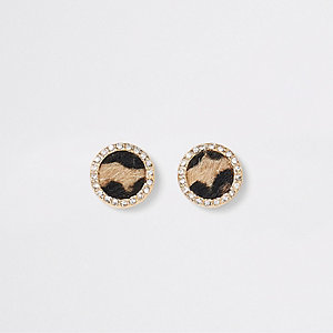 Brown leopard print diamante stud earrings