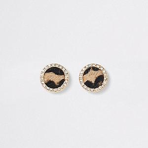 Bruine oorknopjes met luipaardprint en siersteentjes