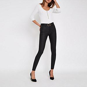 White rhinestone zip long sleeve bodysuit
