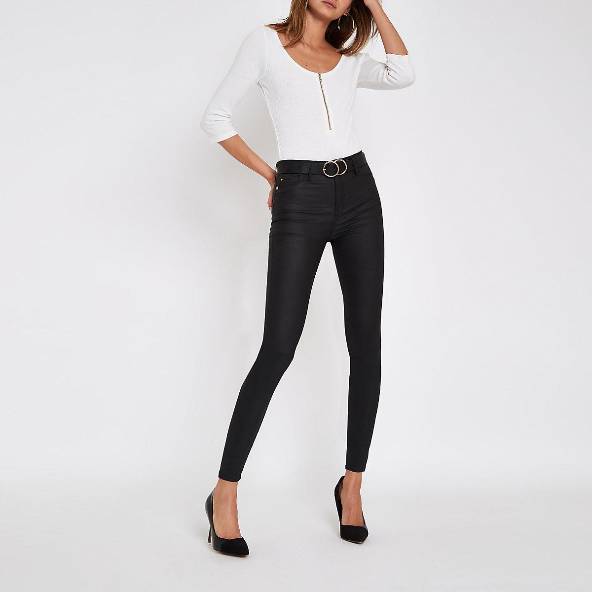 White diamante zip long sleeve bodysuit