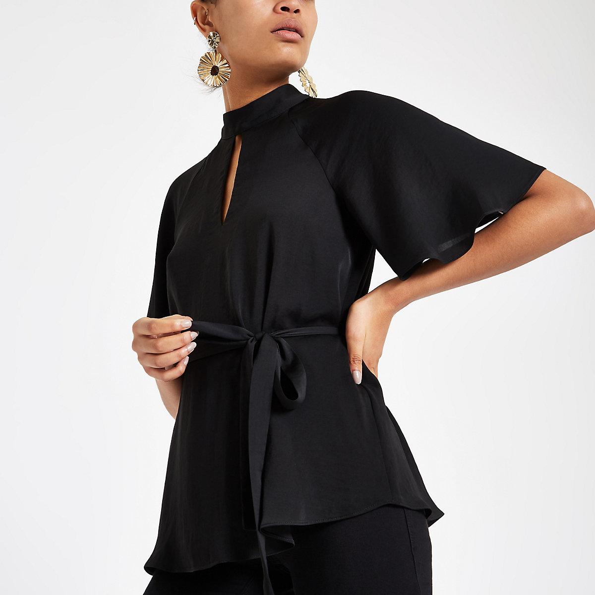 Black tie waist batwing sleeve blouse
