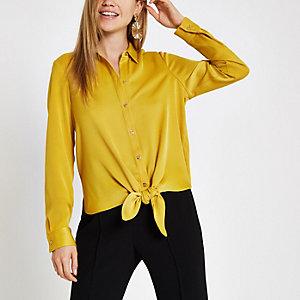 Geel overhemd met strik voor en lange mouwen
