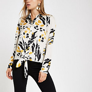 Cream print tie front long sleeve shirt