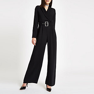 Black tux diamante buckle wide leg jumpsuit