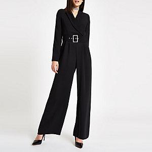 Black tux rhinestone buckle wide leg jumpsuit