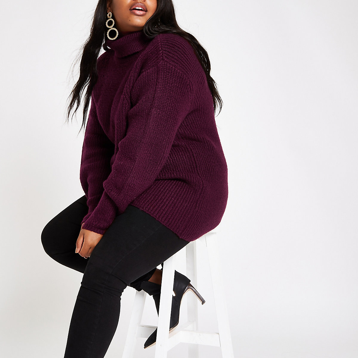 Plus burgundy chunky knit roll neck sweater