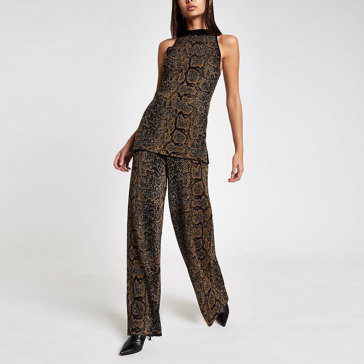 Black knit snake print high neck tank