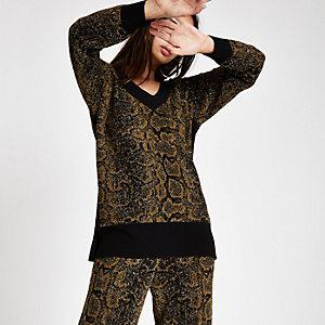 Black knit snake print V neck sweater