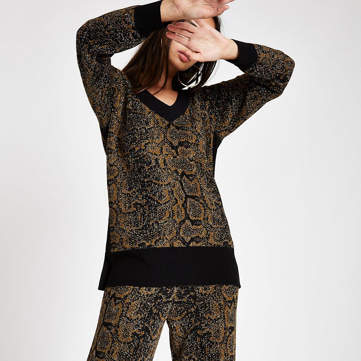 Black knit snake print V neck sweater
