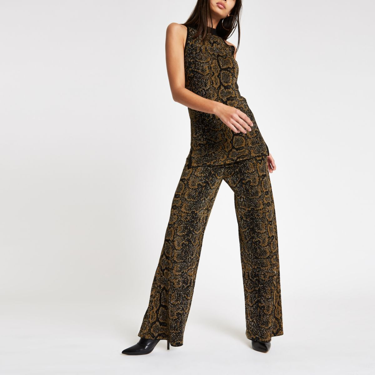 Black knit snake print wide leg trousers