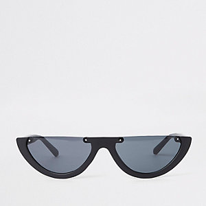 Black smoke lens half-frame sunglasses